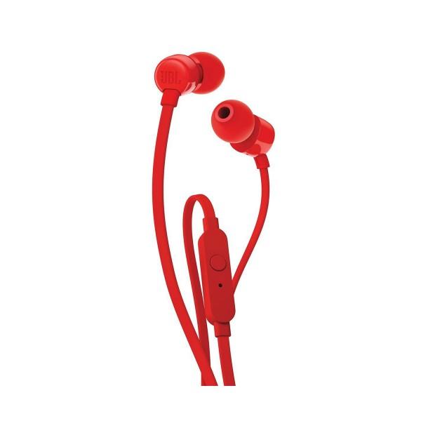 Jbl t110 rojo auriculares de botón con micrófono integrado