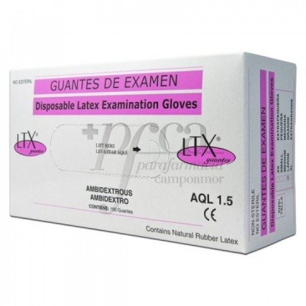 GUANTES DE EXAMEN LATEX NO ESTERIL T/G 100U
