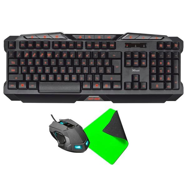 Trust gaming kit kabal+keyb+pad teclado ratón alfombrilla usb
