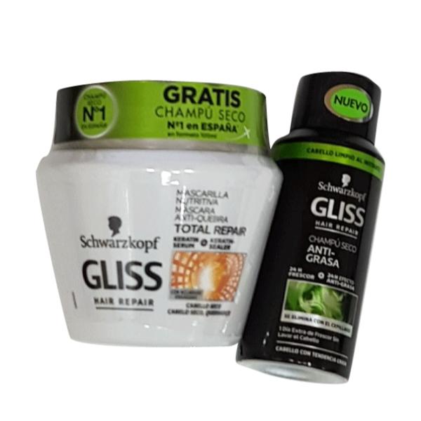 Gliss Mascarilla Nutritiva Total Repair 300 ml+ Champú Anti-Grasa 100 ml